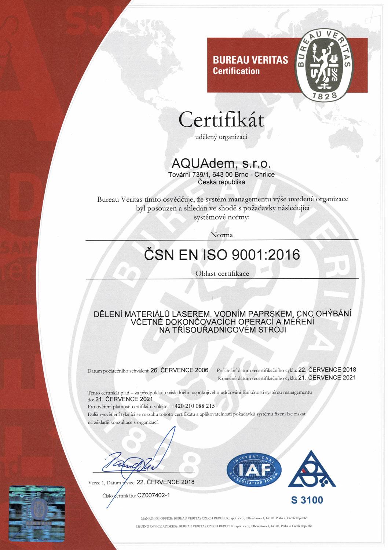 Certificates Aquadem Sro